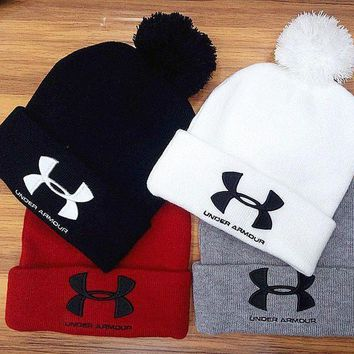 One-nice™ Under Armour Woman Men Fashion Embroidery Beanies Winter Knit Hat Cap