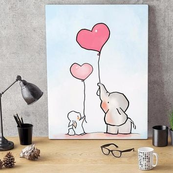 Nursery art / decor - Canvas painting / Poster print - Free Shipping - Mommy Elephant and baby love