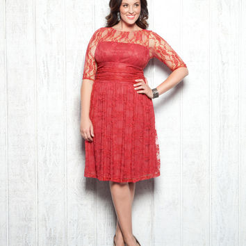 Plus Size Coral Luna Lace Cocktail Dress - Unique Vintage - Prom dresses, retro dresses, retro swimsuits.