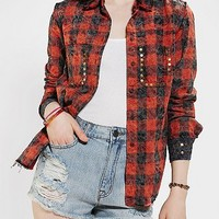 Kill City Acid Wash Plaid Button-Down Shirt