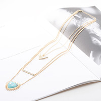 Gold Anchor Heart Faceted Stone Layered Necklace