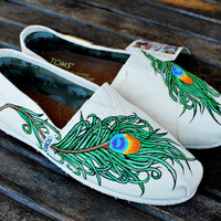 Wavy Peacock Feather TOMS by BStreetShoes on Etsy
