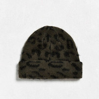 UO Fuzzy Leopard Beanie - Urban Outfitters