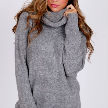 Soft Cowl Neck Sweater Grey