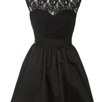 New Look Mobile | Elise Ryan Black Taffeta Lace Top Prom Dress