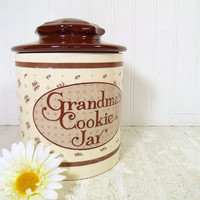 Vintage Ceramic Grandma's Cookie Jar - Mid Century Ivory & Chocolate Brown Pottery Two Piece Canister - Well Worn Kitchen Storage Container