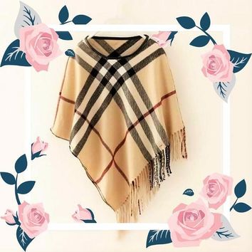 CAMEL BROWN - ARIANA Toddler Girl Round Neck Plaid Poncho