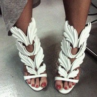 Cruel Summer Release Leaves Metallic Winged Gladiator Women Sandals High Heels Zapatos Mujer Woman Sandalias Women Shoes Pumps