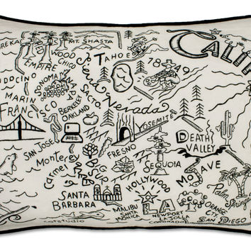 California Black and White Embroidered Pillow