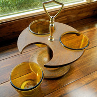 Vintage 1970's Thermo Serv 3 Cup Lazy Susan Style Condiment Server made by West Bend - Great for Serving Dips and Snacks