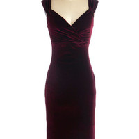 ModCloth Pinup Long Sleeveless Sheath Lady Love Song Dress in Merlot Velvet