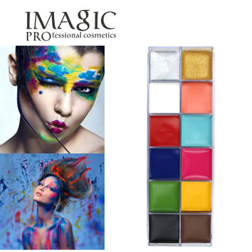 Halloween 12 Flash Color Palette Cosmetics Eye Makeup Cheeks Cosmetic Case Body Face Paint Oil Painting Art Beauty Make Up Tools