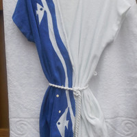 Vintage Bathing Suit Cover Up Robe 1970s Kayser Tery Cloth Blue and White Fishes