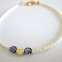 White Seedbead bracelet, Gold heart bracelet