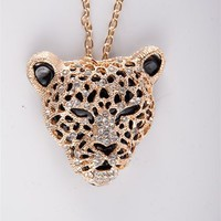 Wild Rhinestone Leopard Necklace - Gold from Jewelry & Accessories at Lucky 21 Lucky 21