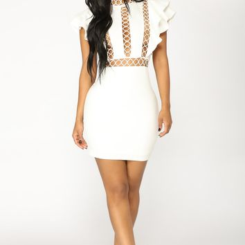 Love You A Hole Lot Mini Dress - White