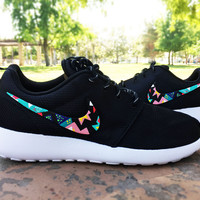 Womens Custom Nike Roshe Run sneakers,Teal and hot Pink, White, Aztec,Bubbles, tribal design, cute and trendy design