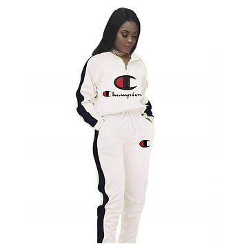 Champion Autumn And Winter New Fashion Embroidery Letter Hooded Long Sleeve Top And Pants Two Piece Suit Women White