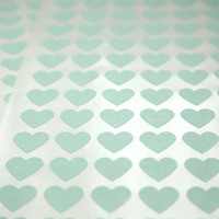 FREE SHIPPING - 108 MINT Green Heart Stickers
