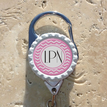 Personalized LPN Bottlecap Carabiner Badge Reel, Rn Lpn Np Nursing Id Badge Holder, Medical, Office, Doctor, Lanyard Badge Reel