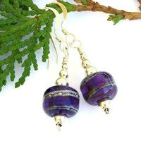 Purple Lampwork Artisan Handmade Earrings Sterling Beaded Jewelry OOAK