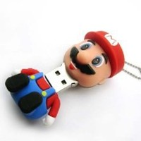 Super Mario USB Flash Drive - Data Storage Device - 8GB - Key Ring Included