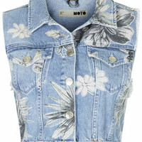 MOTO Floral Sleeveless Jacket - Bleach