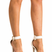 Maria Barely There Strappy High Heel Ankle Strap Sandals in White