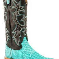 Roper Leather Stamped Python Square Toe Boots Urban Western Wear