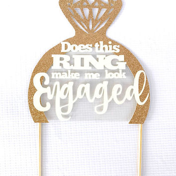 Bridal Shower Cake Topper, Engagement Cake Topper, Bachelorette Party, Diamond Ring Cake, Rose Gold Glitter Cake Topper, Bridal Shower