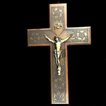 Antique Wall Crucifix with Etched Rose Motif