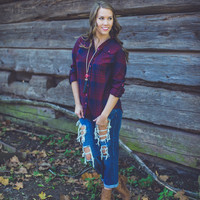 Festival Ready Flannel in Navy and Burgundy