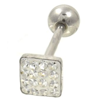 Clear Ferido Gems Square Top Barbell 14G 5/8""