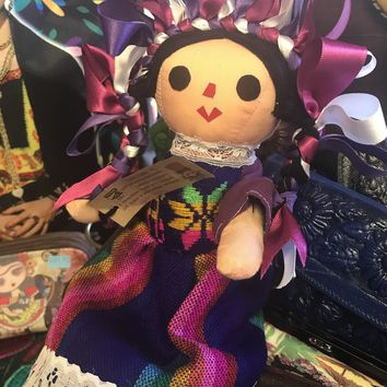 Xochitl Handmade Mexican Rag Doll with 2 Dresses