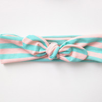 Top Knot Headband - Mint & Peach Stripes