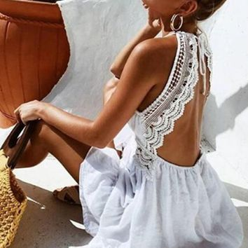 Sexy Boho Spaghetti Strap Lace Dress / White