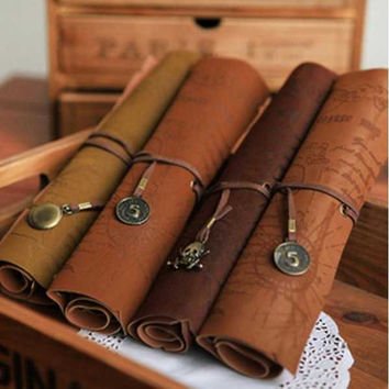 2017 Retro Vintage Pirate Roll Up PU Leather Pen Pencil Case Bags Treasure Map Kid Party Gift Favor Make up Cosmetic Bag H0003