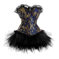 New Sexy Lace Up Blue Floral Corset Lingerie with Mini TuTu Skirt G-string