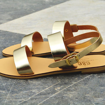"Women leather sandals ""Artemis"",  flat sandals, strap sandals, Greek sandals, genuine leather"