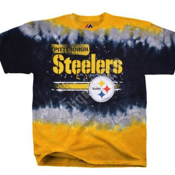 NFL Pittsburgh Steelers Horizontal Stencil Tie-Dye T-Shirt