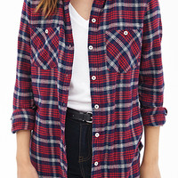 FOREVER 21 Tartan Plaid Cotton Shirt Navy/Red