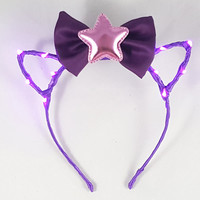 Purple LED headband, Cat ears, Bow headband, Star headband, Rave wear, Cosplay, Cat ear headband, Anime, Festival, Cat ears headband