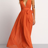 Summer Beach Maxi Dress in Orange with V Neck