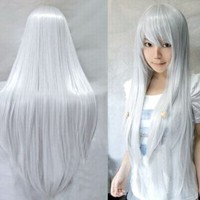 MapofBeauty Beautiful Long Cosplay Party Silver White Mixed Straight Wig 100cm