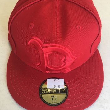 NEW ERA 5950 BOSTON RED SOX RED W/ RED EMBROIDERY DETAIL ALL AROUND FITTED HAT
