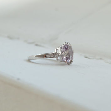 2.5ct Purple Amethyst Cushion Cut Ring - Mothers Day Jewelry - Silver Ring - Promise Ring - Art Deco Wedding Ring - Engagement Ring