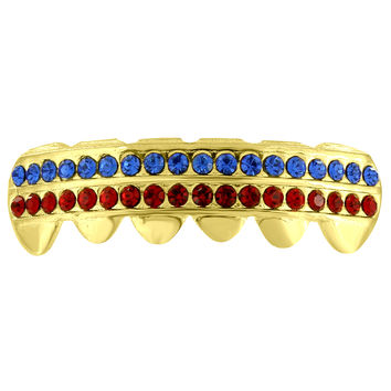 Bottom Mouth Teeth Grillz 2 Row Blue Red Lab Diamonds