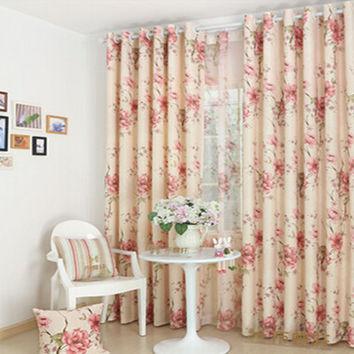 Korean Curtains American country pastoral custom curtains shading white silk cloth finished bedroom living room