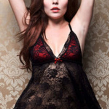 Women Seductive Black Nighty Floral Translucent Babydoll With Thong