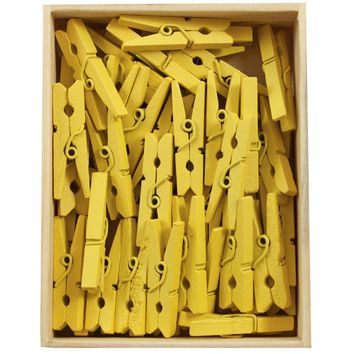 "JAM Paper Wood Clothing Pin Clips - Medium - 1 1/8"" - Yellow - 50/pack"